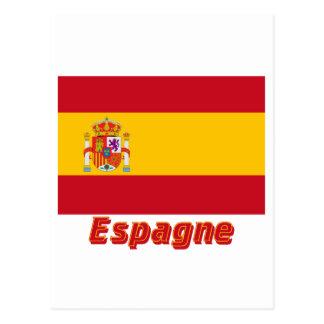 Français de Drapeau Espagne avec le nom en Cartes Postales