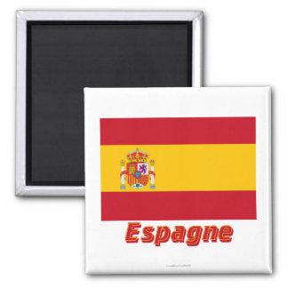 Français de Drapeau Espagne avec le nom en Magnet Carré