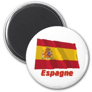 Français de Drapeau Espagne avec le nom en Magnet Rond 8 Cm
