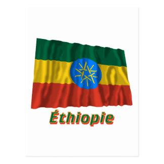 Français de Drapeau Éthiopie avec le nom en Cartes Postales