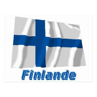 Français de Drapeau Finlande avec le nom en Carte Postale