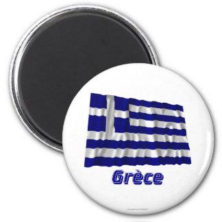 Français de Drapeau Grèce avec le nom en Aimant Pour Réfrigérateur