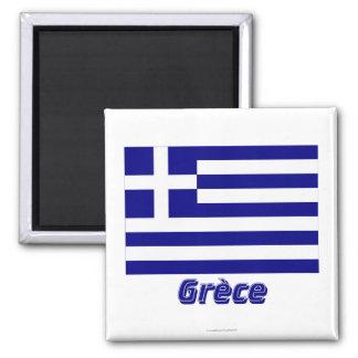 Français de Drapeau Grèce avec le nom en Magnet Carré
