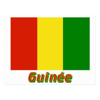 Français de Drapeau Guinée avec le nom en Cartes Postales