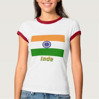 Français de Drapeau Inde avec le nom en Tshirts