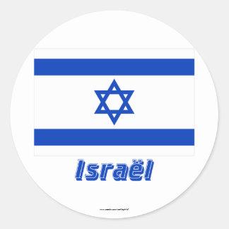 Français de Drapeau Israël avec le nom en Sticker Rond