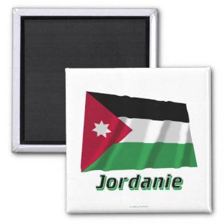 Français de Drapeau Jordanie avec le nom en Magnet Carré