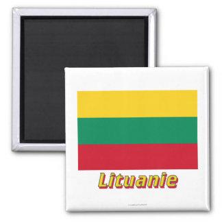 Français de Drapeau Lituanie avec le nom en Magnet Carré