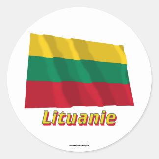 Français de Drapeau Lituanie avec le nom en Sticker Rond