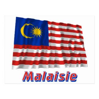 Français de Drapeau Malaisie avec le nom en Cartes Postales