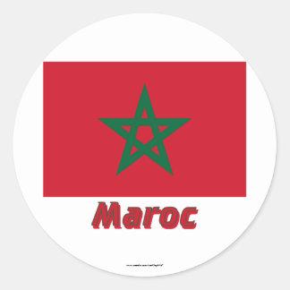 Français de Drapeau Maroc avec le nom en Sticker Rond