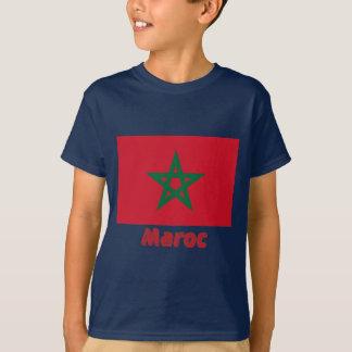 Français de Drapeau Maroc avec le nom en T-shirt