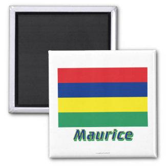 Français de Drapeau Maurice avec le nom en Magnets Pour Réfrigérateur