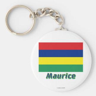 Français de Drapeau Maurice avec le nom en Porte-clés