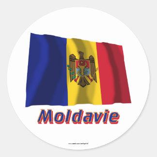 Français de Drapeau Moldavie avec le nom en Adhésif Rond