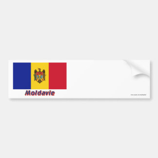 Français de Drapeau Moldavie avec le nom en Adhésifs Pour Voiture