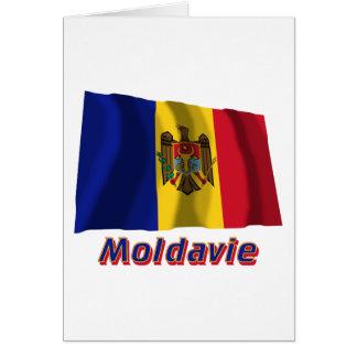 Français de Drapeau Moldavie avec le nom en Cartes De Vœux