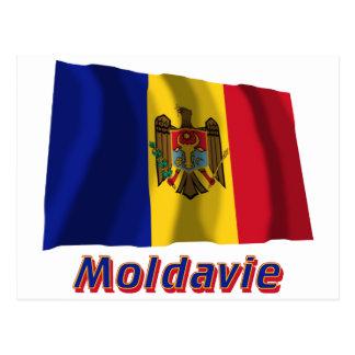 Français de Drapeau Moldavie avec le nom en Cartes Postales