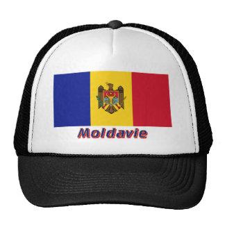 Français de Drapeau Moldavie avec le nom en Casquettes De Camionneur
