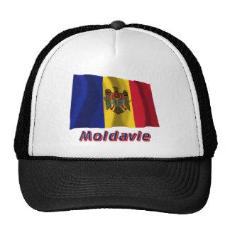 Français de Drapeau Moldavie avec le nom en Casquettes