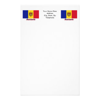 Français de Drapeau Moldavie avec le nom en Papier À Lettre Customisé