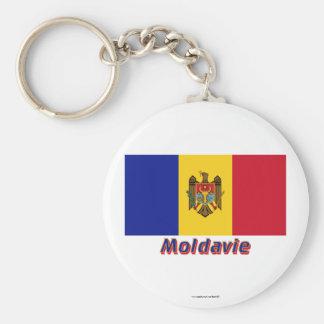 Français de Drapeau Moldavie avec le nom en Porte-clés