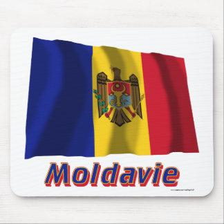 Français de Drapeau Moldavie avec le nom en Tapis De Souris