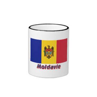 Français de Drapeau Moldavie avec le nom en Mug