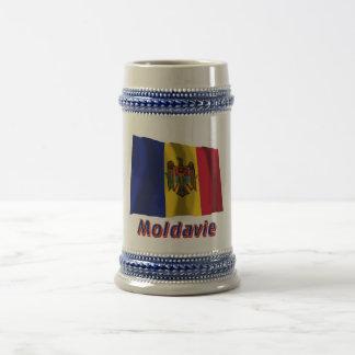 Français de Drapeau Moldavie avec le nom en Tasse À Café