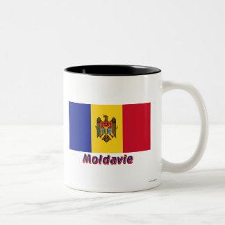 Français de Drapeau Moldavie avec le nom en Mugs À Café
