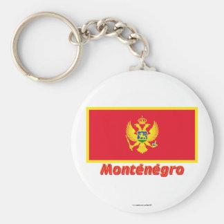 Français de Drapeau Monténégro avec le nom en Porte-clefs