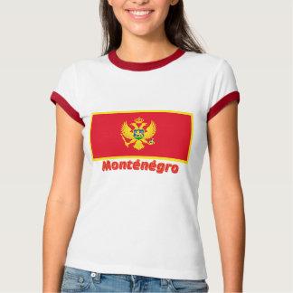 Français de Drapeau Monténégro avec le nom en Tee-shirt