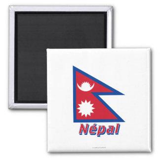 Français de Drapeau Népal avec le nom en Magnet Carré