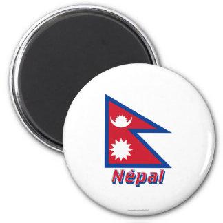 Français de Drapeau Népal avec le nom en Magnet Rond 8 Cm