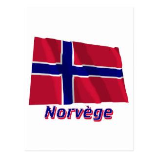 Français de Drapeau Norvège avec le nom en Cartes Postales