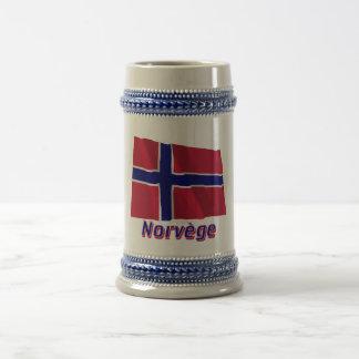 Français de Drapeau Norvège avec le nom en Chope À Bière