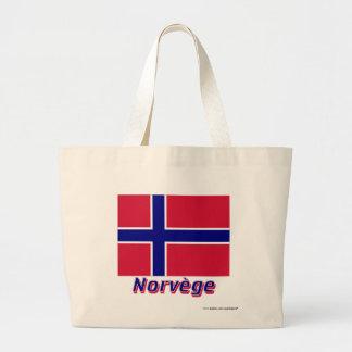 Français de Drapeau Norvège avec le nom en Sac Fourre-tout