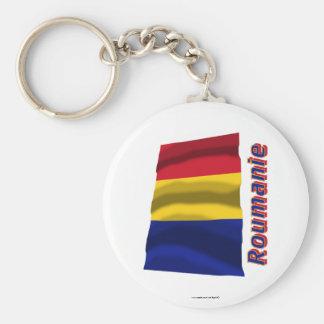 Français de Drapeau Roumanie avec le nom en Porte-clé Rond