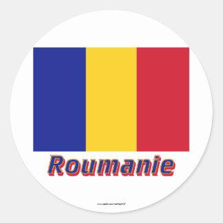 Français de Drapeau Roumanie avec le nom en Sticker Rond