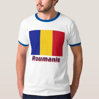 Français de Drapeau Roumanie avec le nom en T-shirt