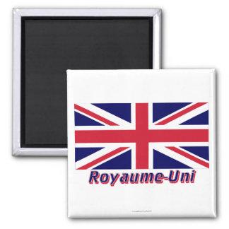 Français de Drapeau Royaume-Uni avec le nom en Magnet Carré
