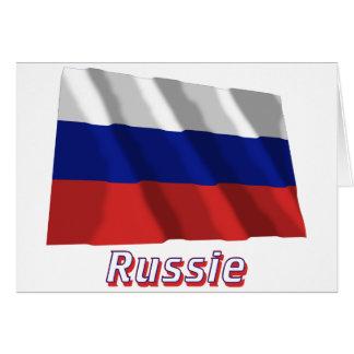 Français de Drapeau Russie avec le nom en Cartes De Vœux
