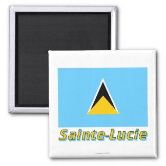Français de Drapeau Sainte-Lucie avec le nom en Magnets Pour Réfrigérateur