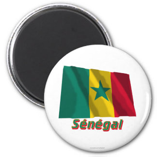Français de Drapeau Sénégal avec le nom en Magnet Rond 8 Cm
