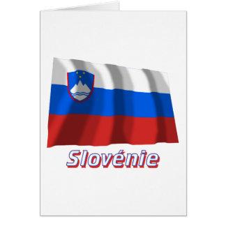 Français de Drapeau Slovénie avec le nom en Cartes