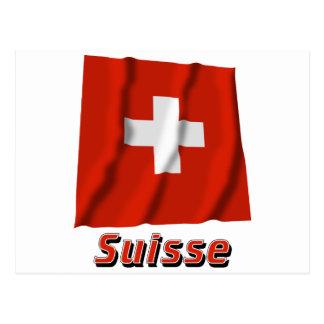 Français de Drapeau Suisse avec le nom en Carte Postale