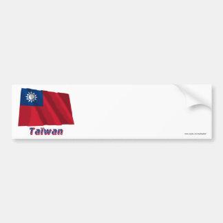 Français de Drapeau Taïwan avec le nom en Autocollant Pour Voiture