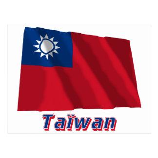 Français de Drapeau Taïwan avec le nom en Cartes Postales