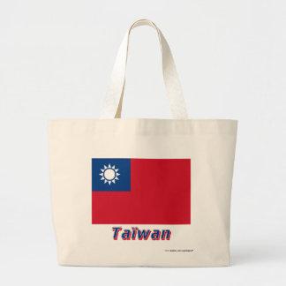 Français de Drapeau Taïwan avec le nom en Sacs De Toile