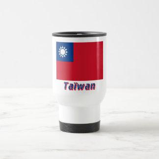 Français de Drapeau Taïwan avec le nom en Tasses